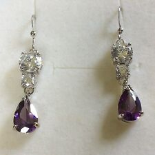 Z10 Purple Amethyst Sim Diamond Silver Drop Dangle Earrings (White Gold GF) BOXD