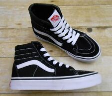 a1b70141a924 VANS Sk8 Hi Skate Shoes Kids Youth Size 1 Black White Suede Canvas High  Tops EUC