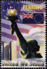 UNITED WE STAND World Trade Center (WTC) New York Memorial Stamp (2003 Penrhyn)
