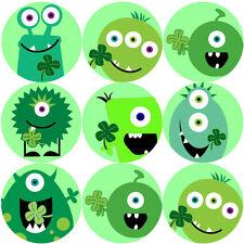 144 St Patrick's Day Monsters Teacher Reward Stickers Size 30mm - Saint Patrick