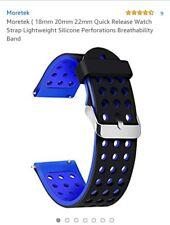 Moretek (20mm  Quick Release Watch Strap Lightweight Silicone..black./blue