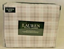 Ralph Lauren Four Piece Queen Sheet Set White/Beige/Blue Plaid 100% Cotton New