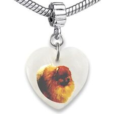 Pomeranian Dog Heart Dangle Mother Of Pearl European Bracelet Charm Bead EBS256