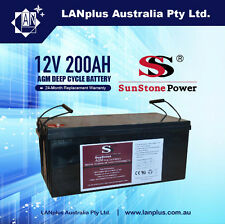 NEW 12V 12 Volt 200AH AGM DEEP CYCLE BATTERY UPS Marine CARAVAN SOLAR = 2X 100AH