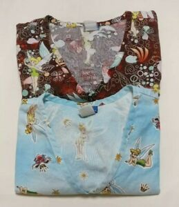 Vtg Disney Tinkerbell Print Small Nursing Scrub Tops Lot brown + blue Cotton