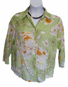 Alfred Dunner Floral Shirt COTTON Blouse Size 16 XL Top Light Green Flowered