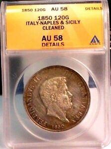 1850 Italy Italian States Naples & Sicily Silver 120 Grana - ICG AU58 Details