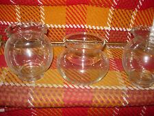 """THREE ROUND GLASS VASES--(2) 5 1/2"""" HIGH--(1) 4"""" HIGH--#P31"""