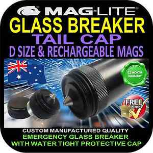 MAGLITE UPGRADE FLASHLIGHT TORCH TAIL CAP GLASS BREAKER D SIZE & 6V MAG CHARGER