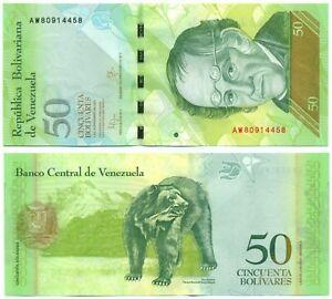 VENEZUELA NOTE 50 BOLIVARES 5.11.2015 PREFIX AW P 92k UNC
