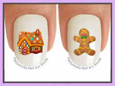 Nail Decals #804X CHRISTMAS  Gingerbread House Man WaterSlide Nail Art Transfers