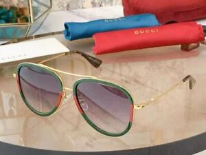Gucci GG0062S 003 Aviator Sunglasses in Red/Green and Grey Lens 10