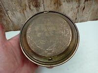 Vintage Brass Hinged Lidded Dish With Willow Pattern Design on top 5 inch