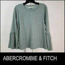 Abercrombie & Fitch Woman Casual Formal Bell Sleeve Blouse Size Large L Green