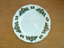 Yuletide  Rosina-Queens  Holly Berries Pine Cones England 83740  1 Dinner Plate