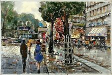 ZAVOLI Signed Vtg Mid Century ea.1960s Italian? Oil Painting PARIS CITY ST SCENE