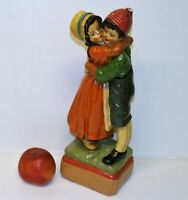 "Antique Art Deco Figurine Plaster Chalkware Hugging Girl & Boy Statue 13"" Tall"