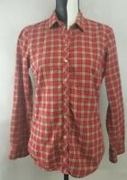 Eddie Bauer Women's Long Sleeve Button Down Plaid Casual Shirt Red Size: Small