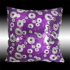 SHINY PURPLE SILVER CIRCLES SEQUINS DECO THROW PILLOW CASE CUSHION COVER 16""