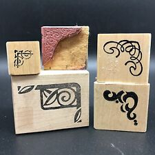 Mixed Lot of Corner Border Mounted Rubber Stamps, Stamping Embossing (Rf605-71)