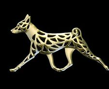 Basenji Running Dog Brooch or Pin -Fashion Jewellery Gold Plated, Stud Back