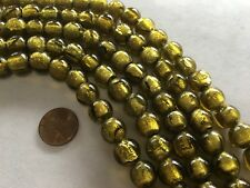 """TWO 16"""" Strands Silver-Lined GOLD Venetian Style Lampwork Beads 11mm"""