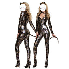Sexy Cat Women Jumpsuit Leopard Catsuit Bodysuit Fancy Dress Halloween Costume