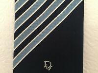 Vtg Christian Dior Men's Tie Striped Blue/ White Polyester Necktie Tie