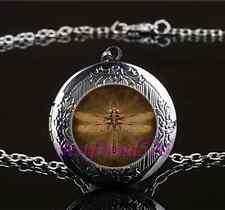 Steampunk Dragonfly Photo Glass Gun Black Chain Locket Pendant Necklace