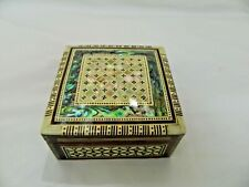 """Egyptian Inlaid Wooden Square Mother of Pearl Paua Shell Jewelry Box  3.5"""" # 202"""