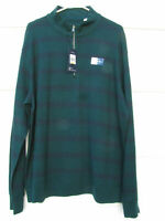 Chaps Men's Green Striped Reversible Long Sleeve Knit Shirt Front Zip Size XL