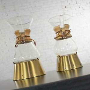 2 Mid Century Modern Chemex Pour Over Coffeemakers by Peter Schlumbohm w/ Warmer