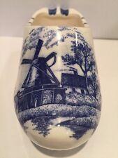 Vintage Delfts Blue Holland Clog Shoe Ashtray Handpainted Dutch Windmill Scene