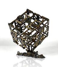 Vintage Mid Century Modern Brutalist Welded Steel Brass Cube Sculpture Jere Era