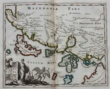 Original antique map GREECE, CORFU, 'EPIRUS HODIE CANINA ...' P. Cluver, c.1697