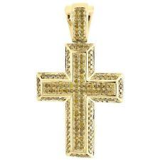 Round Pave Mini Charm 0.60 Tcw. Yellow Diamond Cross Pendant Mens 10K Gold