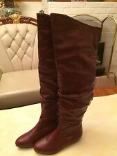 CA Collection By Carrini Maroon Knee High Scrunch Boots Sz 6.5M