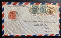 1948 Shanghai China Vacuum Oil Airmail Cover To South Bend Indiana Usa