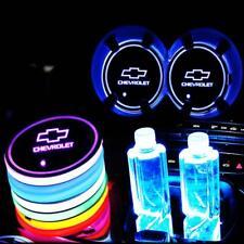 2PCS LED Car Logo Cup Holder Pad 7 Color Changing Atmosphere Light for CHEVROLET