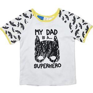 NEW BATMAN  -  MY DAD IS A SUPERHERO WHITE COTTON TOP TEE SHIRT SIZE 1,2