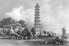 China, JIANZI HACKY SACK FEET SHUTTLECOCK GAME SPORT ~ 1842 Art Print Engraving