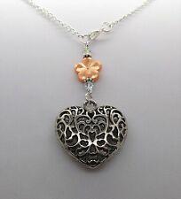 Swarovski Elements Crystal ORANGE FLOWER & TIBETAN SILVER HEART Car Mirror Charm