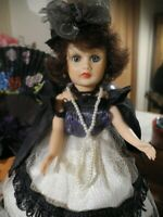 "VTG Pretty Fashion Doll Coty Circle P 10"" Brunette Evening Attire Cape Hat Shoes"