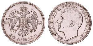 XA.352} YUGOSLAVIA 20 dinara 1931 / Silver / VF+