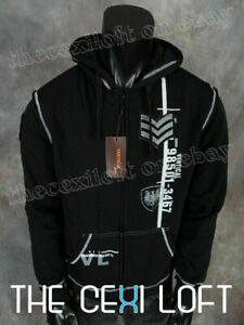 Mens VERTICAL Black Fleece Hoodie Military Graphic with White Trim