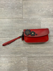 COACH 58818 GLOVETAN LEATHER CLUTCH IN RED