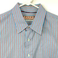 Thomas Pink Red & Blue Striped Long Sleeve Button Front Dress Shirt Mens Large