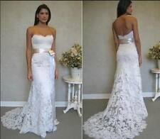 Mermaid White/Ivory Lace Wedding Dress Bridal Gown custom Size 6 8 10 12 14 16