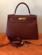 Authentic Hermes Kelly 28 Sellier Rouge H Box Calf Gold Hardware