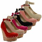 Womens Ladies High Heel Wedge Platform Ankle Strappy Full Toe Court Shoes Pumps